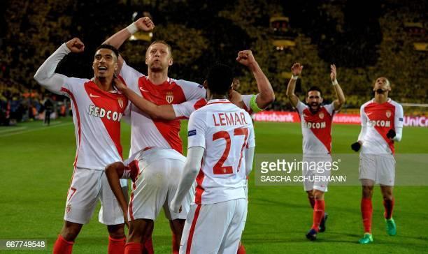 Monaco's players celebrate scoring during the UEFA Champions League 1st leg quarterfinal football match BVB Borussia Dortmund v Monaco in Dortmund...