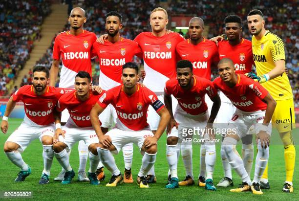 Monaco's players Portuguese midfielder Joao Moutinho Brazilian midfielder Rony Lopes Colombian forward Radamel Falcao French midfielder Thomas Lemar...
