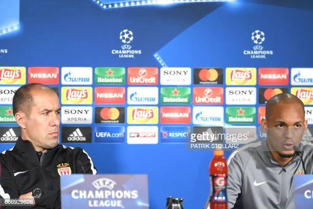 Monaco's Portuguese coach Leonardo Jardim and Monaco's Brazilian defender Fabinho attend a press conference in Dortmund western Germany on April 10...