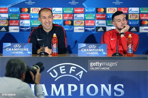 Monaco's Portuguese coach Leonardo Jardim and Monaco's Croatian goalkeeper Danijel Subasic hold a press conference on the eve of the UEFA Champions...