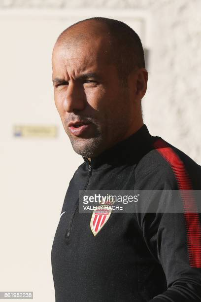 Monaco's Portuguese coach Leonardo Jardim arrives for a training session on October 16 at the Louis II Stadium in Monaco on the eve of the UEFA...