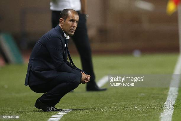 Monaco's Portuguese coach Leonardo Jardim follows the UEFA Champions League third qualifying round second leg football match between AS Monaco vs BSC...