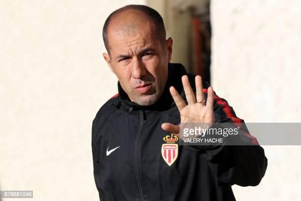Monaco's Portuguese coach Leonardo Jardim gestures as he arrives for a training session on the eve of their UEFA Champions League football match...
