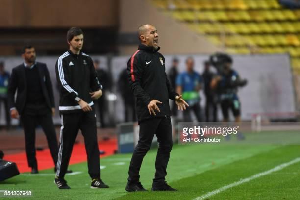 Monaco's Portuguese coach Leonardo Jardim gives gives his instructions during the UEFA Champions League Group G football match AS Monaco FC vs FC...