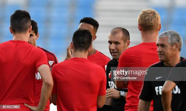 Monaco's Portuguese coach Leonardo Jardim gives instructions to his players during a training session at the Grand Stade in Tangiers on July 28 2017...