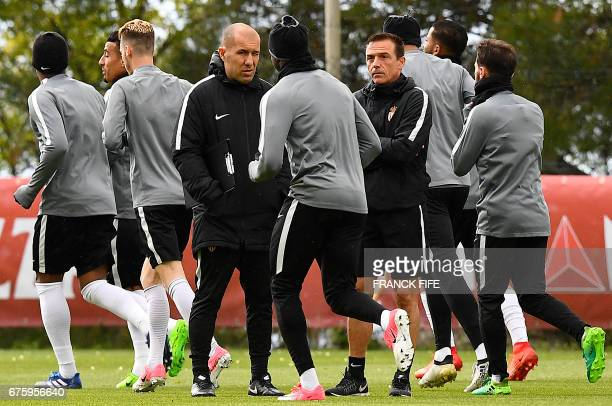 Monaco's Portuguese coach Leonardo Jardim looks as his players during a training session on May 2 2017 in La Turbie near Monaco on the eve of the...