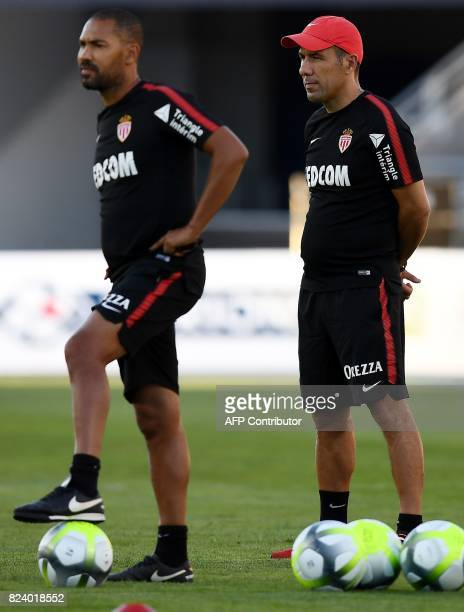 Monaco's Portuguese coach Leonardo Jardim looks as his players take part in a training session at the Grand Stade in Tangiers on July 28 2017 on the...
