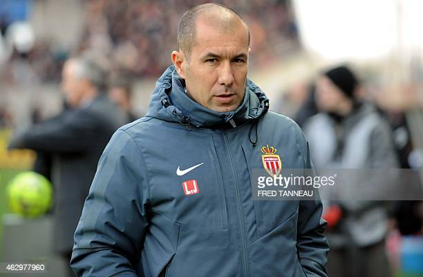 Monaco's Portuguese coach Leonardo Jardim looks on during the French L1 football match Guingamp vs Monaco on February 8 2015 at the Roudourou stadium...