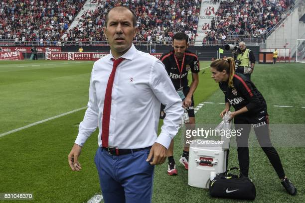 Monaco's Portuguese coach Leonardo Jardim looks on prior to the French Ligue 1 football match between Dijon FCO and AS Monaco on August 13 2017 at...
