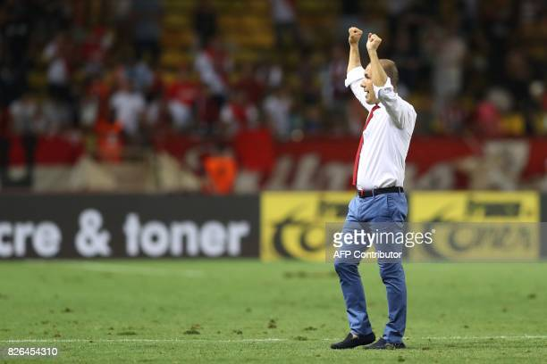 Monaco's Portuguese coach Leonardo Jardim reacts at the end of the French L1 football match between Monaco and Toulouse at Louis II Stadium in Monaco...