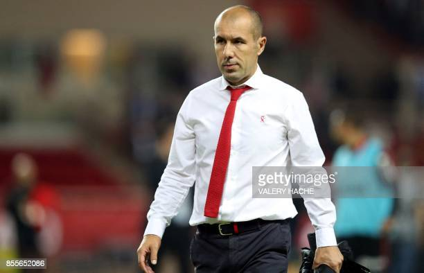 Monaco's Portuguese coach Leonardo Jardim reacts at the end of the French L1 football match between Monaco and Montpellier on September 29 2017 at...