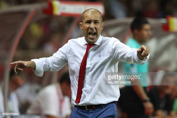 Monaco's Portuguese coach Leonardo Jardim reacts during the French L1 football match between Monaco and Toulouse at Louis II Stadium in Monaco on...