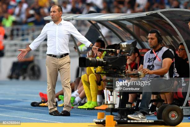 Monaco's Portuguese coach Leonardo Jardim reacts during the French Trophy of Champions football match between Monaco and Paris SaintGermain on July...