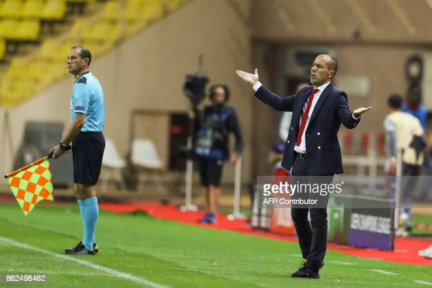 Monaco's Portuguese coach Leonardo Jardim reacts during the UEFA Champions League group stage football match between Monaco and Besiktas on October...