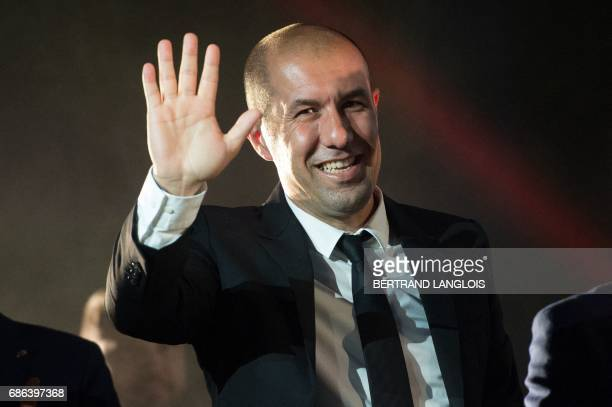 Monaco's Portuguese coach Leonardo Jardim waves to supporters on May 21 2017 in Monaco during a celebration to mark the club winning their first...