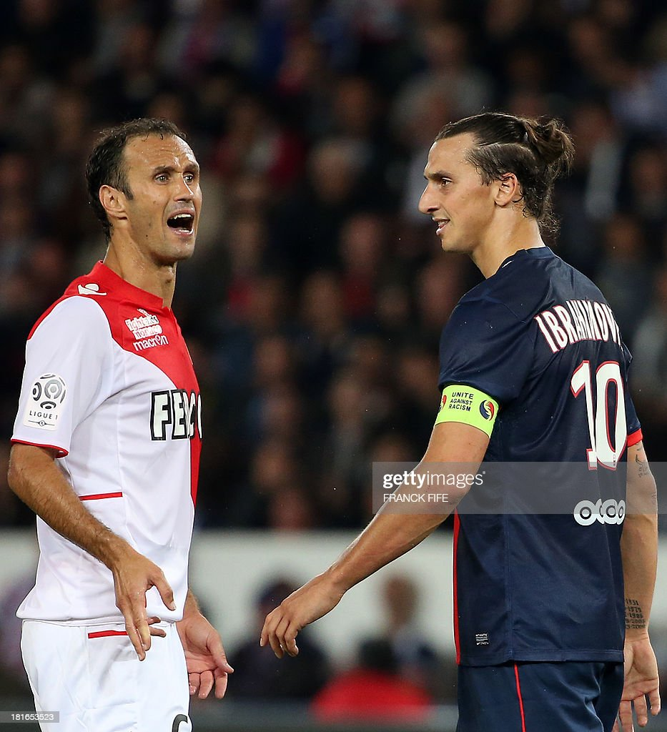 Monaco's Portuguese defender Ricardo Carvalho (L) reacts in front Paris Saint-Germain's Swedish forward <a gi-track='captionPersonalityLinkClicked' href=/galleries/search?phrase=Zlatan+Ibrahimovic&family=editorial&specificpeople=206139 ng-click='$event.stopPropagation()'>Zlatan Ibrahimovic</a> during the French L1 football match between Paris Saint-Germain and AS Monaco at the Parc des Princes Stadium in Paris on September 22, 2013. The match ended in a 1-1 draw.