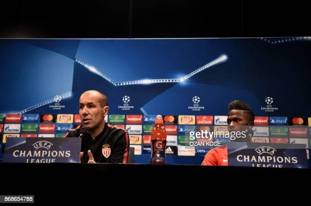 Monaco's Portuguese head coach Leonardo Jardim and Senegalese forward Keita Balde give a press conference on the eve of the UEFA Champions League...