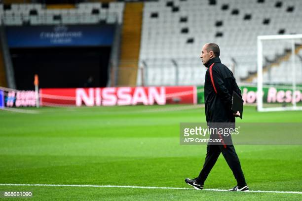 Monaco's Portuguese head coach Leonardo Jardim attends a training session at the Vodafone Park stadium in Istanbul on October 31 on the eve of the...