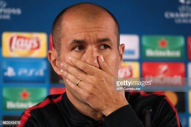 Monaco's Portuguese head coach Leonardo Jardim reacts during a press conference in Monaco on October 16 on the eve of their UEFA Champions League...
