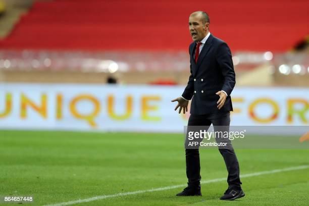 Monaco's Portuguese head coach Leonardo Jardim reacts during the French L1 football match Monaco vs Caen on October 21 2017 at the Louis II stadium...