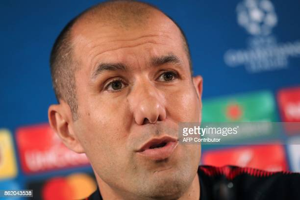 Monaco's Portuguese head coach Leonardo Jardim speaks during a press conference in Monaco on October 16 on the eve of their UEFA Champions League...
