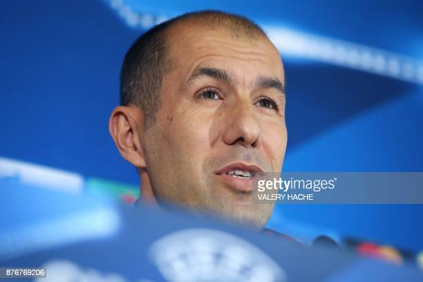 Monaco's Portuguese head coach Leonardo Jardim speaks during a press conference on the eve of the UEFA Champions League Group G football match...
