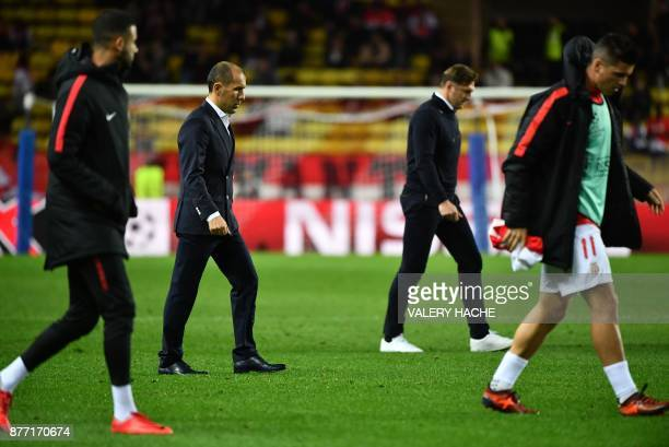 Monaco's Portuguese headcoach Leonardo Jardim reacts at the end of the first half during the UEFA Champions League group G football match between...