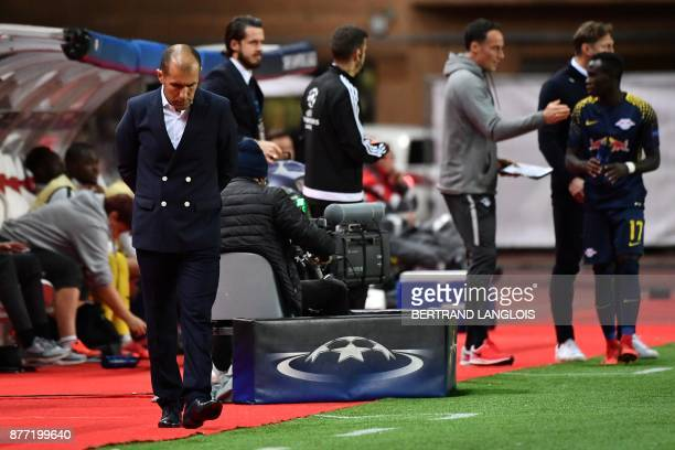 Monaco's Portuguese headcoach Leonardo Jardim reacts during the UEFA Champions League group G football match between Monaco and Leipzig at the Louis...