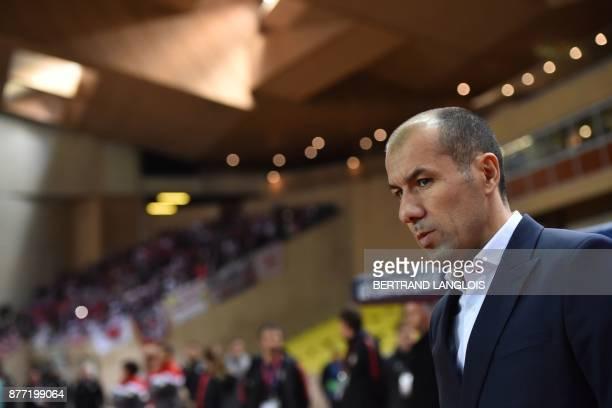 Monaco's Portuguese headcoach Leonardo Jardim reacts prior to the UEFA Champions League group G football match between Monaco and Leipzig at the...