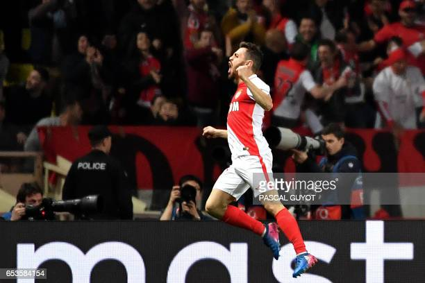 Monaco's Portuguese midfielder Bernardo Silva celebrates after his team scored a goal during the UEFA Champions League round of 16 football match...