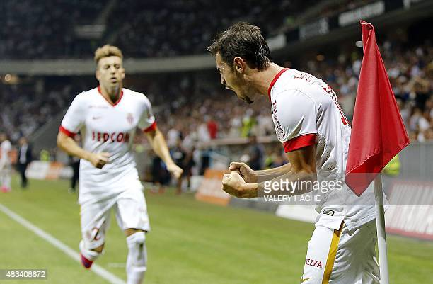 Monaco's Portuguese midfielder Bernardo Silva celebrates after scoring a goal during the French L1 football match between Nice and Monaco at the...