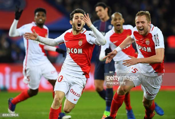 TOPSHOT Monaco's Portuguese midfielder Bernardo Silva celebrates after scoring a goal during the French L1 football match between Paris SaintGermain...