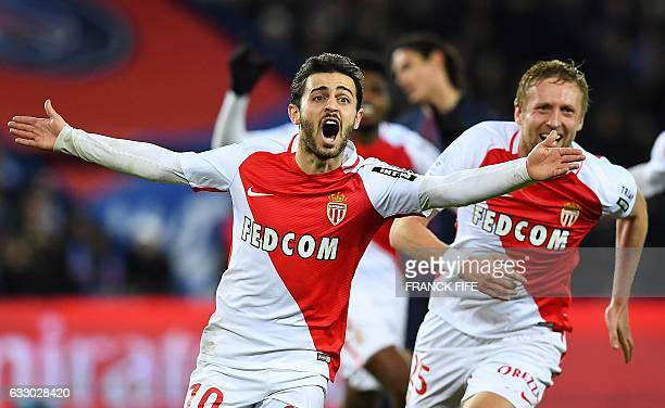 Monaco's Portuguese midfielder Bernardo Silva celebrates after scoring a goal during the French L1 football match between Paris SaintGermain and...