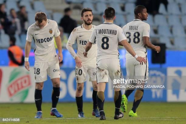 Monaco's Portuguese midfielder Bernardo Silva celebrates with his teammates after scoring a goal during the L1 football match Bastia against Monaco...