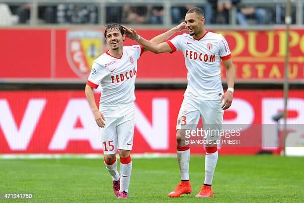 S NOTECORRECTING PLAYER Monaco's Portuguese midfielder Bernardo Silva is congratulated by Monaco's French defender Layvin Kurzawa after scoring a...