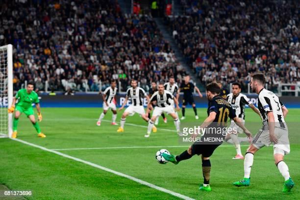 Monaco's Portuguese midfielder Bernardo Silva kicks the ball during the UEFA Champions League semi final second leg football match Juventus vs Monaco...