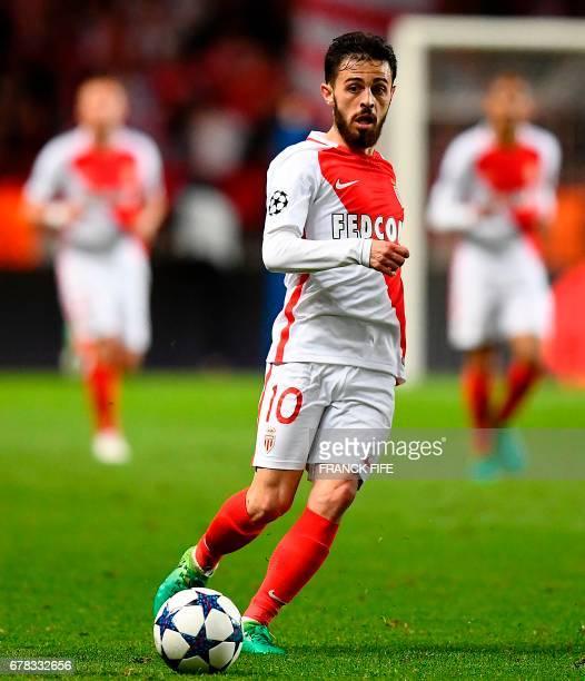 Monaco's Portuguese midfielder Bernardo Silva passes the ball during the UEFA Champions League semifinal first leg football match between Monaco and...