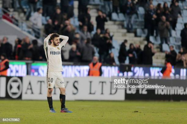 Monaco's Portuguese midfielder Bernardo Silva reacts after the L1 football match Bastia against Monaco on February 17 2017 in the Armand Cesari...