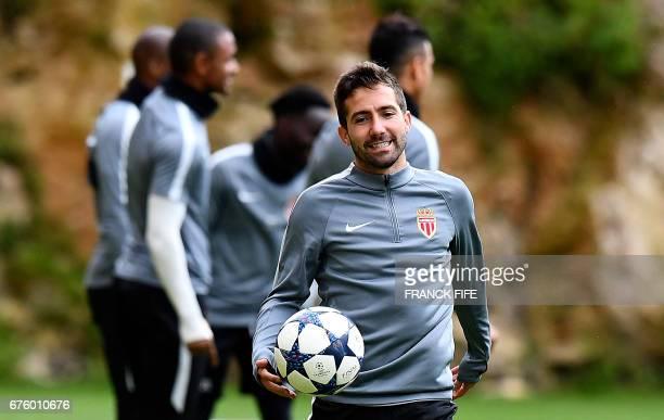 Monaco's Portuguese midfielder Bernardo Silva reacts during a training session on May 2 2017 in La Turbie near Monaco on the eve of the UEFA...