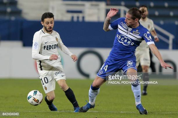 Monaco's Portuguese midfielder Bernardo Silva vies with Bastia's Algerian midfielder Mehdi Mostefa during the French L1 football match Bastia against...