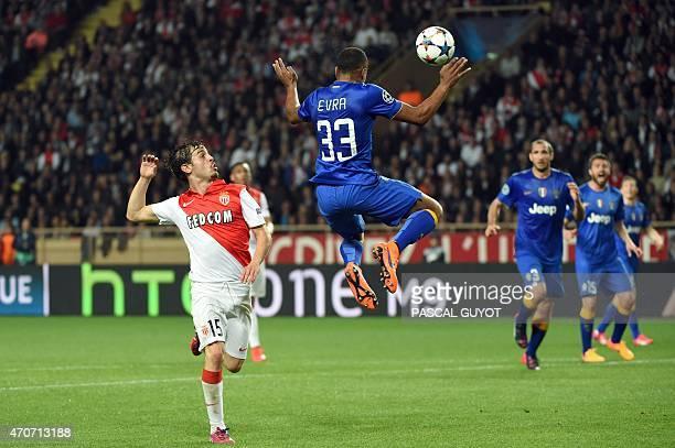 Monaco's Portuguese midfielder Bernardo Silva vies with Juventus' defender from France Patrice Evra during the UEFA Champions League quarter final...