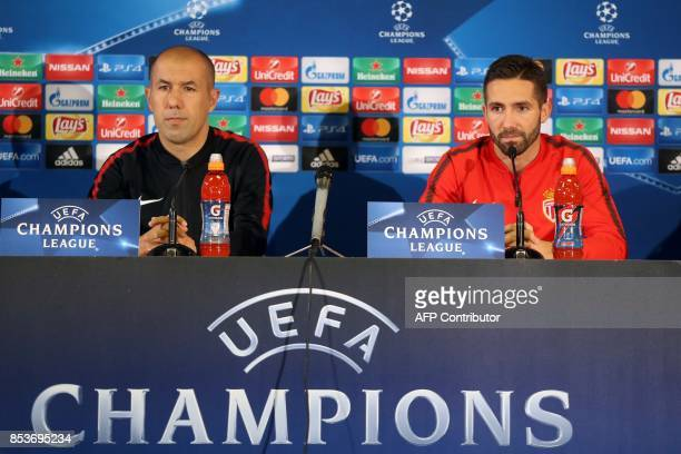 Monaco's Portuguese midfielder Joao Moutinho and Monaco's Portuguese coach Leonardo Jardim give a press conference on the eve of the UEFA Champions...
