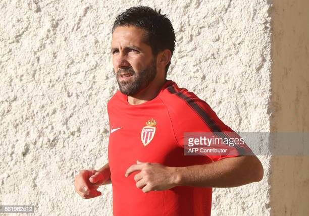 Monaco's Portuguese midfielder Joao Moutinho arrives for a training session on October 16 at the Louis II Stadium in Monaco on the eve of the UEFA...