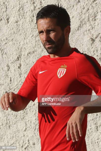 Monaco's Portuguese midfielder Joao Moutinho arrives for a training session at the Louis II Stadium in Monaco on October 16 on the eve of their UEFA...