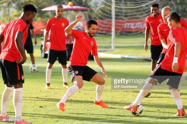 Monaco's Portuguese midfielder Joao Moutinho attends a training session on October 16 at the Louis II Stadium in Monaco on the eve of the UEFA...