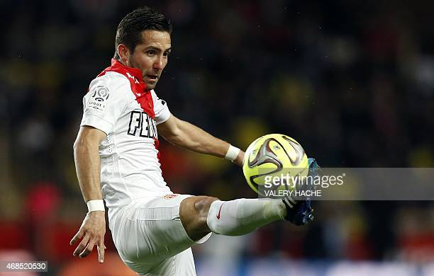 Monaco's Portuguese midfielder Joao Moutinho controls the ball during the French L1 football match Monaco and Saint Etienne on April 3 2015 at the...