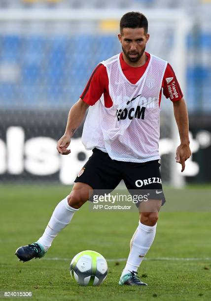 Monaco's Portuguese midfielder Joao Moutinho controls the ball during a training session at the Grand Stade in Tangiers on July 28 2017 on the eve of...