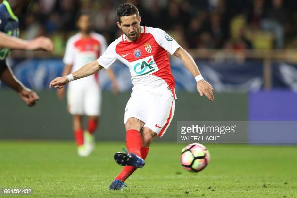 Monaco's Portuguese midfielder Joao Moutinho kicks the ball during the French Cup football match between Monaco vs Lille at the 'Louis II' stadium in...