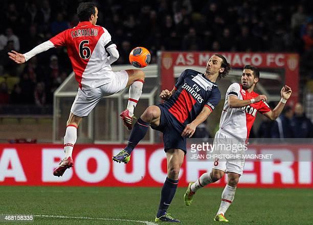 Monaco's Portuguese midfielder Joao Moutinho Monaco's Portuguese defender Ricardo Carvalho and Paris SaintGermain's Swedish forward Zlatan...