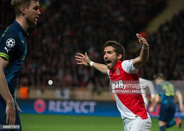 Monaco's Portuguese midfielder Joao Moutinho reacts during the UEFA Champions League football match Monaco vs Arsenal on March 17 2015 at Louis II...
